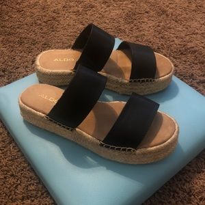Aldo black espadrille slip on sandals